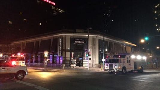 Firefighters freed a man who was stuck in a wall at the Yardhouse on the 16th Street Mall.