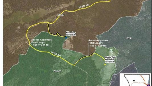 The Killpecker communications site is one-half mile away from the intially proposed site on Middle Bald Mountain.