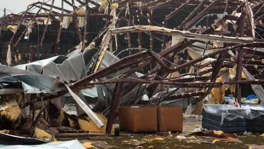 A severely damaged building on U.S. 98 East near Columbia after a tornado touched down around 2:20 p.m. Tuesday.