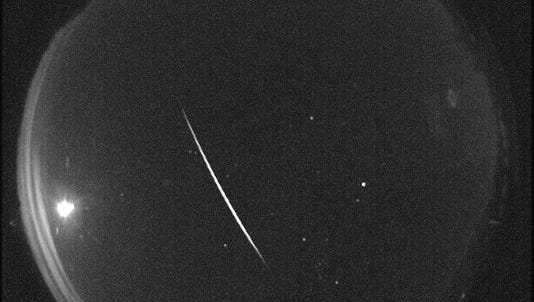 A Quadrantid meteor is seen over New Mexico in the early morning hours of Jan. 3, 2013.