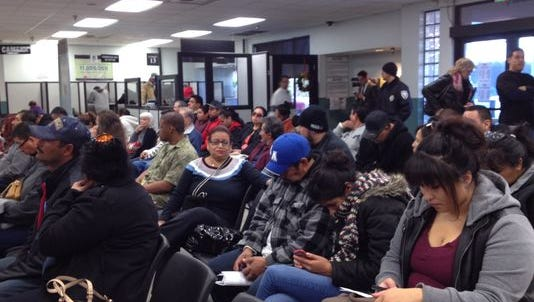 The Indio DMV office was packed Friday morning, with wait times exceeding two hours. Friday was the first day state Assembly Bill 60 went into effect, allowing undocumented residents to apply for licenses.