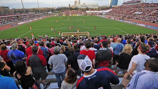 An Indy Eleven soccer match last season at IUPUI.