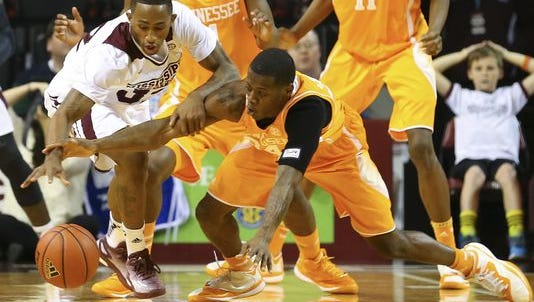 Mississippi State junior Craig Sword dives for a loose ball vs. Tennessee on Wednesday.