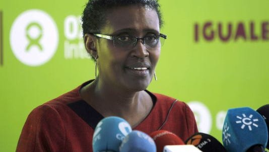 """Oxfam International's Executive Director, Winnie Byanyima, addresses a press conference to launch the report """"Equal. Put an end to Extreme Inequality"""" in Madrid, Spain, on Oct. 30, 2014."""
