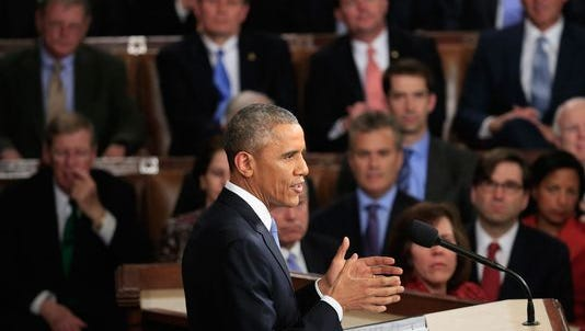 President Barack Obama delivers his State of the Union speech Tuesday before members of Congress in the House chamber of the U.S. Capitol in Washington. Obama named voting rights protections as a priority.