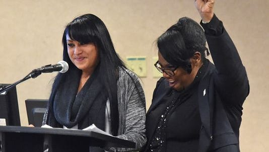 WCSD Interim Superintendent Traci Davis cheers for Wooster High School student Ashley Robison during the annual State of Education on Thursday night.