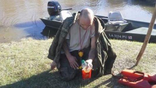 Robert Varnado survived days in the woods on rain and river water.