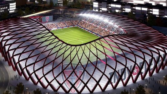 Rendering of proposed Indy Eleven stadium.