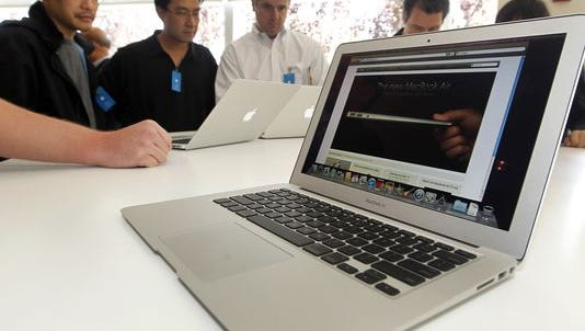 The new Apple Macbook Air laptop is seen on display at Apple headquarters in Cupertino, Calif., Wednesday, Oct. 20, 2010.