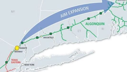 The route of the proposed Algonquin pipeline expansion.