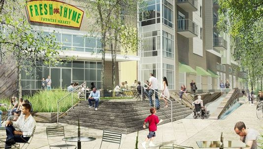 A rendering of the Fresh Thyme Farmers Market coming to Broad Ripple next spring.