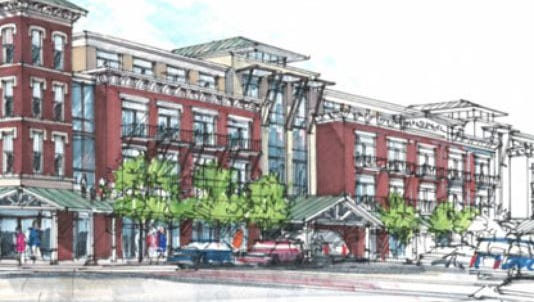 A rendering of the proposed mixed-use Harpeth Square project in downtown Franklin.