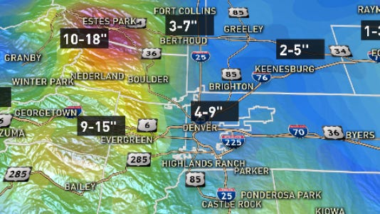 Snow forecast Wednesday-Thursday combined