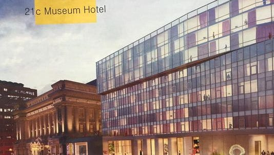 Artist's rendering of the proposed 21 c Museum Hotel with the old City Hall (left) serving as entrance and art museum.