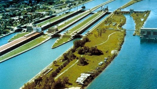 An aerial view of the Soo Locks from the northwest.