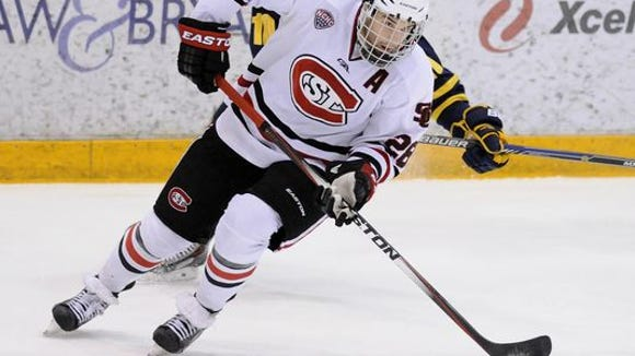 St. Cloud State senior defenseman Andrew Prochno (28) will miss this weekend's NCHC Frozen Faceoff because of a hand injury.