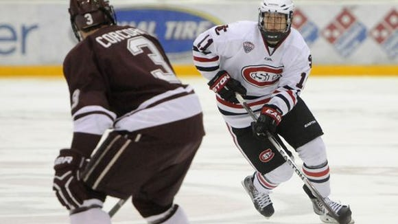 St. Cloud State's Kalle Kossila (11) will be a game-day decision as to whether or not he plays against North Dakota on Friday.