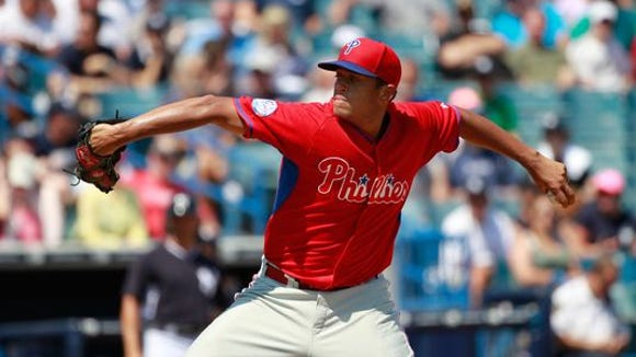 Left-hander Mario Hollands experienced soreness in his pitching elbow.