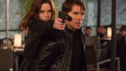 Rebecca Ferguson and Tom Cruise in a scene from 'Mission: Impossible Rogue Nation.'
