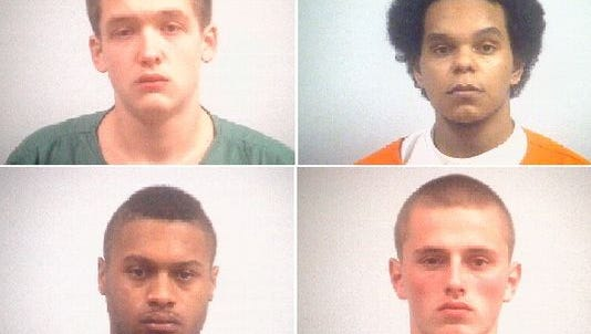 Clockwise from top left: Blake Layman, 18; Jose Quiroz Jr., 19; Levi Sparks, 20; and Anthony Sharp Jr., 20, are each serving a five-decade sentence for the murder of their friend Danzele Johnson, 21.