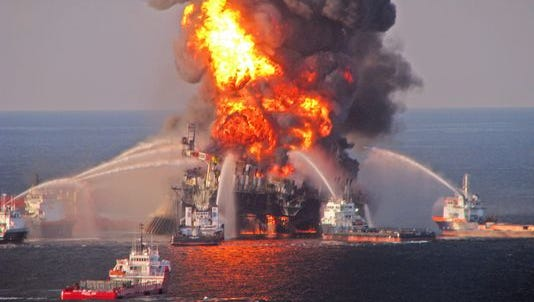The Deepwater Horizon oil rig on fire in the Gulf of Mexico in 2010.