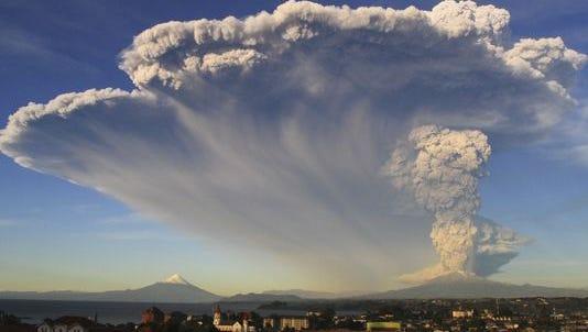 The Calbuco volcano erupts near Puerto Varas, Chile, Wednesday