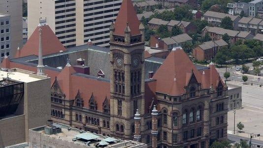 Cincinnati City Hall as seen from Carew Tower observation deck.