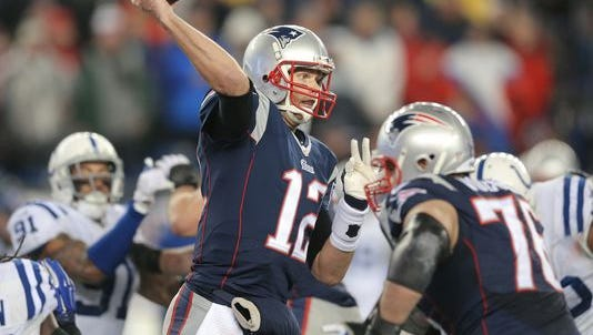 Tom Brady throws a pass during the game that revealed DeflateGate to the world.