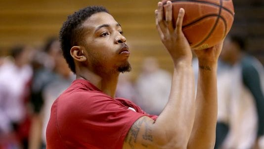 Indiana Hoosiers forward Devin Davis (15) shoots around with the team before their game against the Michigan State Spartans, March 7, 2015, afternoon at Assembly Hall.