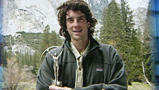 Dean Potter, who died during a wingsuit flight in Yosemite National Park, receives his award for World Alternative Sportsman of the Year on May 20, 2003.