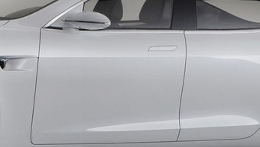 The high-tech door handles on a Model S remain flush with the body until it detects a driver with the key approaching.