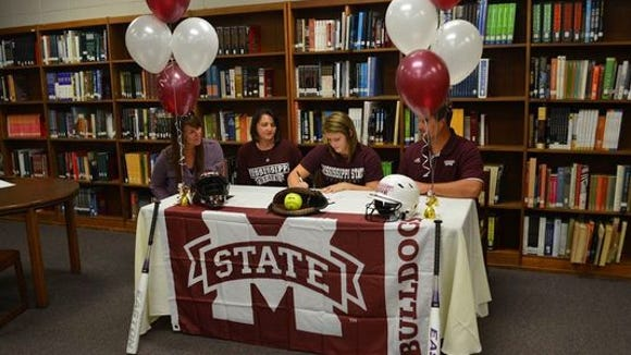 Franklin catcher Madison Cousineau signed to play college softball for Mississippi State last fall.