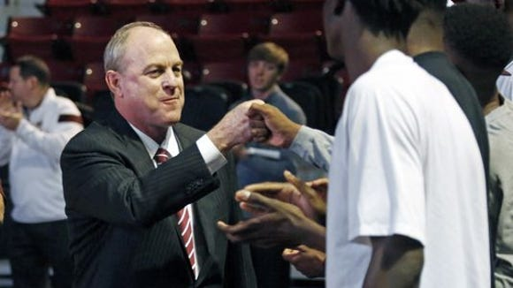 Mississippi State coach Ben Howland is excited with
