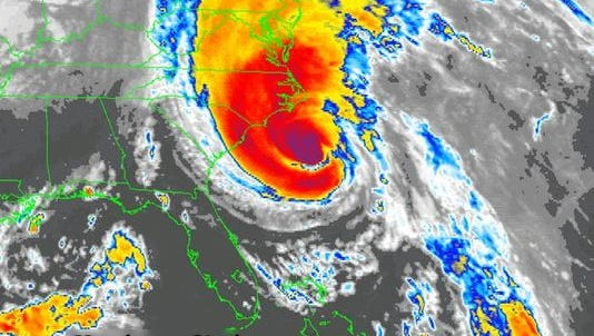 Hurricane Gloria on Sept. 26, 1985. The storm cruised north just off the Jersey Shore the next day