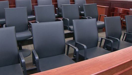 Jury box in an Arapahoe County courtroom