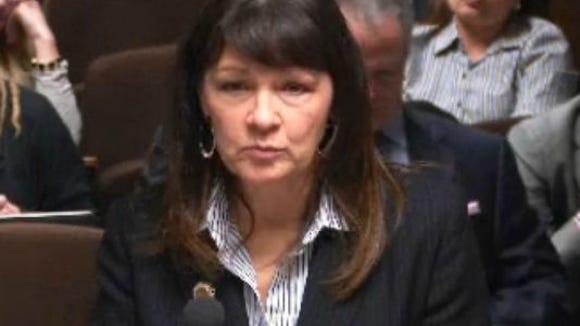 Rep. Victoria Steele, D-Tucson, testifies at a legislative