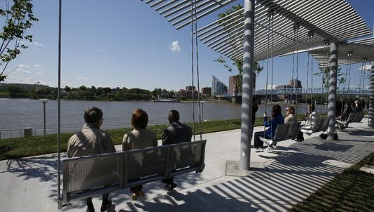 The swings at Smale Riverfront Park have been one of the park's most popular features.