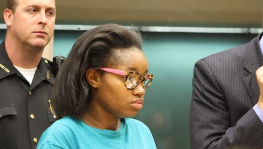 Peek Gaddis, 22, of Colerain Township, appears in Hamilton County Municipal Court, accused of punching her infant son in the head, fracturing his skull.