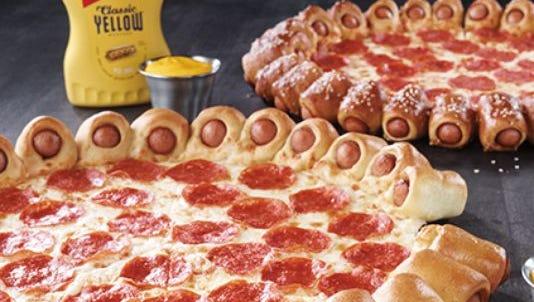 Pizza Hut's new hot dog crust pizza.