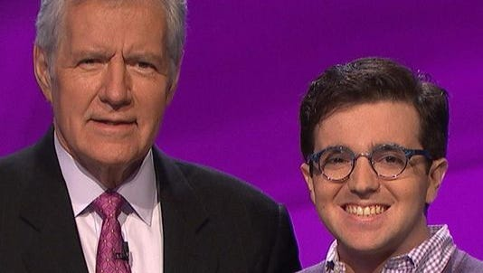 """Jeopardy!"" host Alex Trebek and Sacha Samotin."