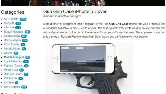 Gun grip case iPhone 5 cover is seen.