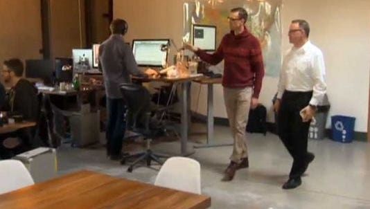 The CEO of Treehouse gives KGW reporter Pat Dooris a tour.