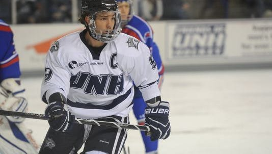 Congers native and former Clarkstown North star Matt Willows, pictured here playing for the University of New Hampshire, has signed with the Carolina Hurricanes.