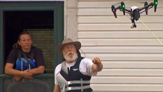 A drone helped saved the day back in May — going where rescuers couldn't — to deliver a rope lifeline to a couple whose Johnson County home was surrounded by fast-moving floodwaters.