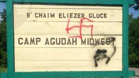 Someone spray-painted this sign with graffiti sometime between late July 25, 2015, and July 26, 2015, according to the Van Buren Co. Sheriff's Office.