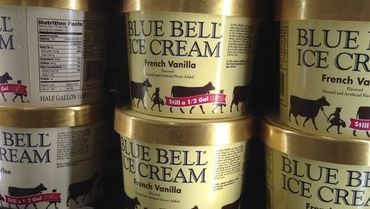 Blue Bell ice cream on a grocery store shelf in Lawrence, Kan., on April 10, 2015.