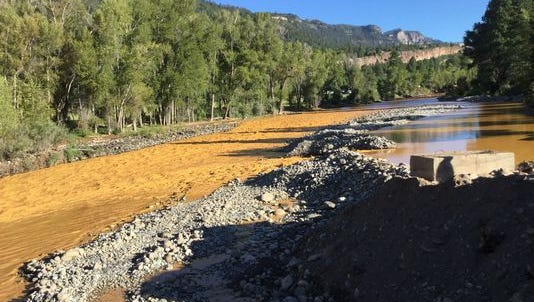 Mine waste in the Animas River.