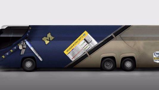 FOX Sports is designing a bus dressed like Michigan coach Jim Harbaugh.