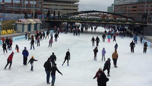 An example of an outdoor ice skating rink in Buffalo, N.Y.