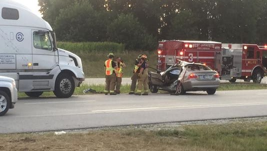 A man was injured Friday, August 14, 2015 when his car was hit by a semi at the intersection of  Cumberland Avenue and U.S. 231 in West Lafayette.